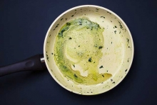 Грязная керамическая сковорода